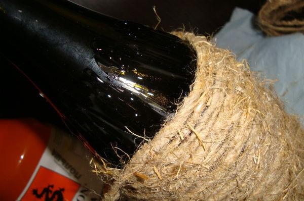 Декор бутылки шпагатом фото 3