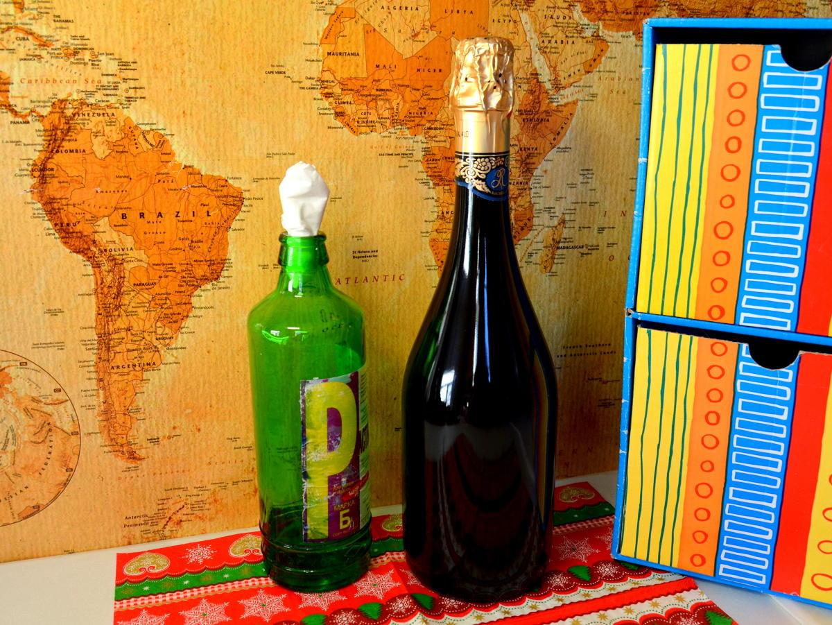 Декупаж бутылки шампанского салфетками фото 2