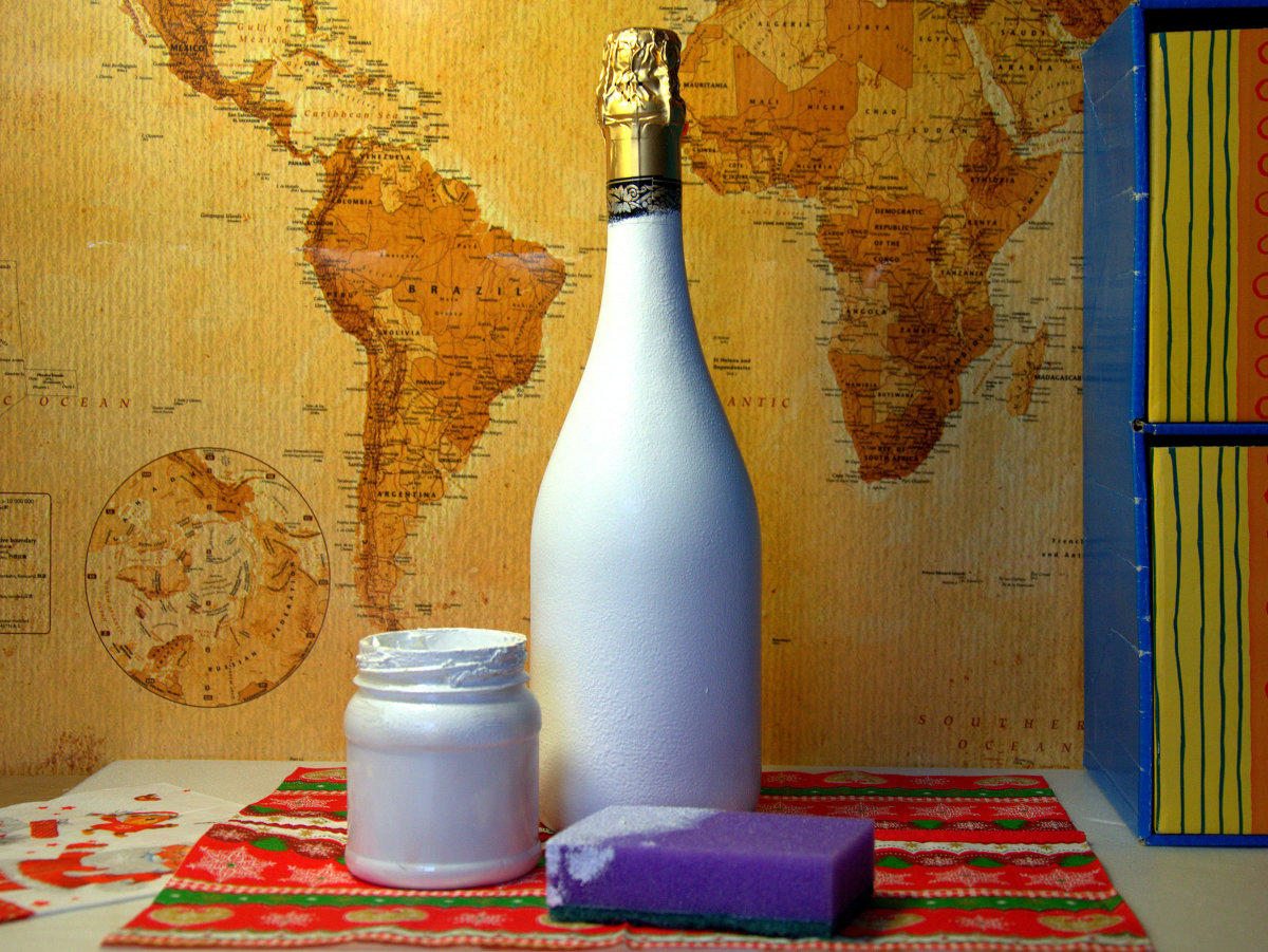 Декупаж бутылки шампанского салфетками фото 3