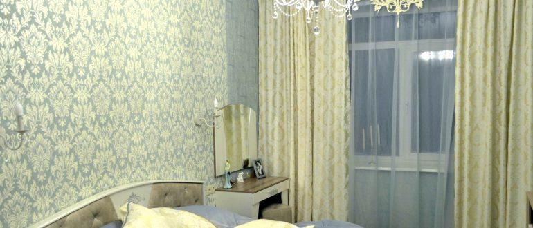 как подобрать тюль к шторам в спальню пример 1