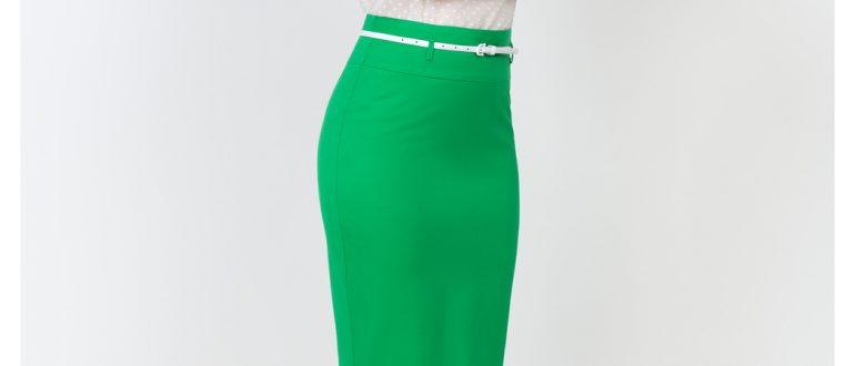 Классическая юбка карандаш зеленая