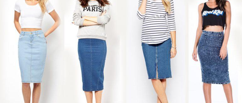 Повседневная юбка карандаш из джинсы