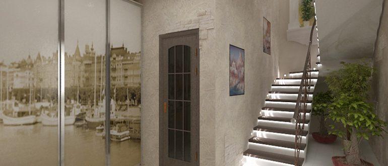 Дизайн коридора в доме с лестницей фото 1
