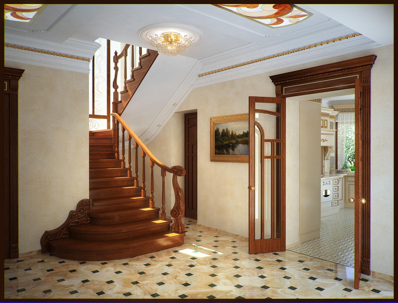самым происходит дизайн холла с лестницей фото архитектуре