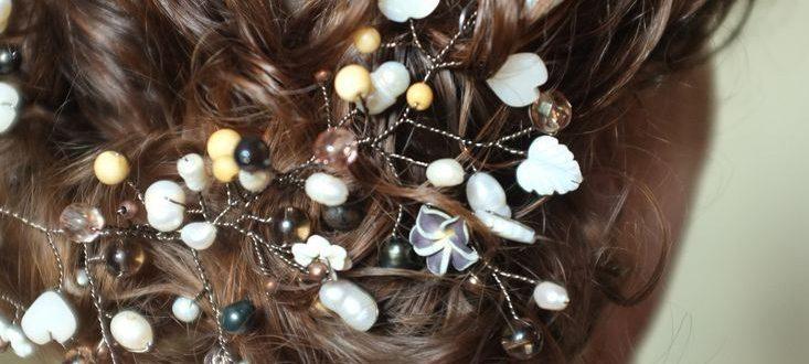 Винтажное украшение для волос из проволоки и бусин