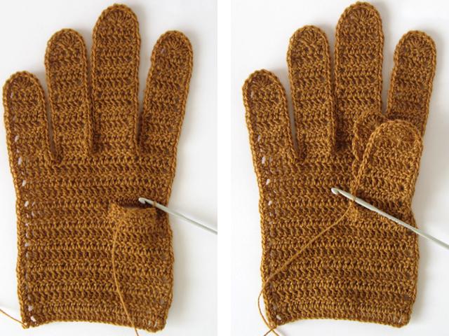 Вязание большого пальца