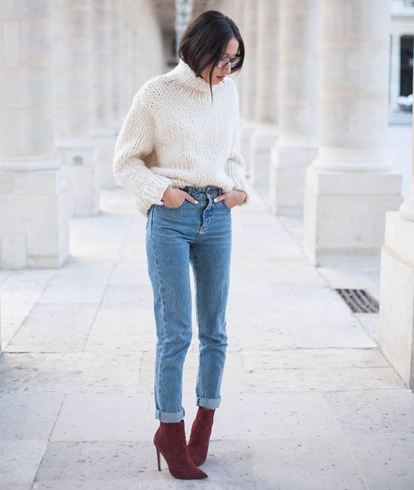 Ботильены с синими джинсами