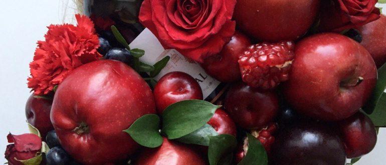 Букет с вином и фруктами