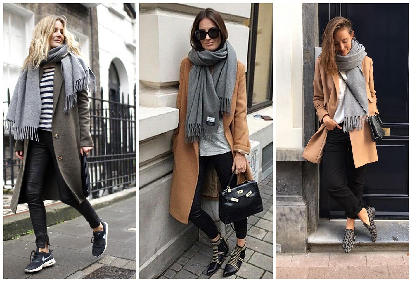 Пальто с теплым шарфом