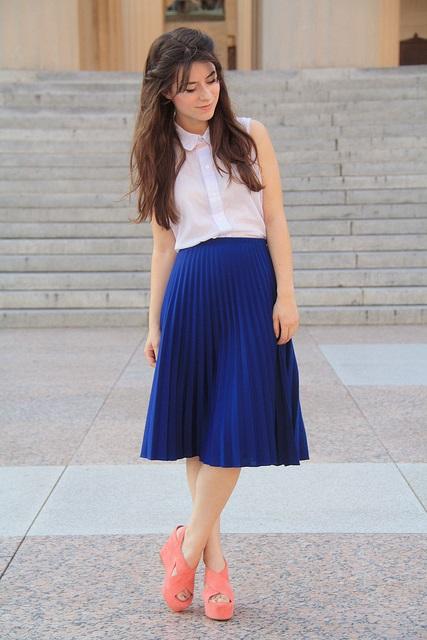 Синяя юбка плиссе