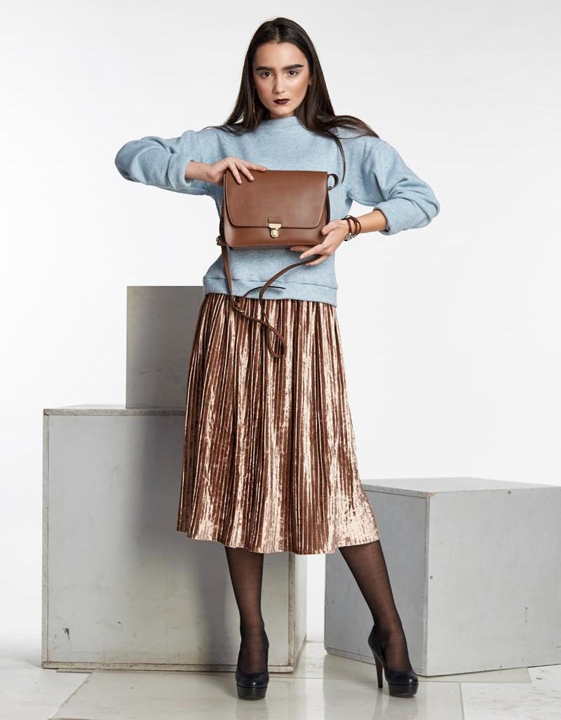 Вельветовая юбка плиссе