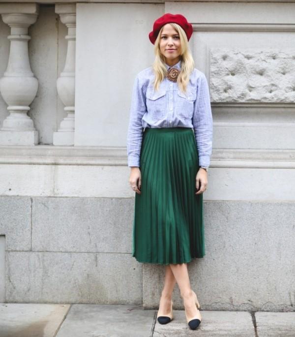 Зеленая юбка-плиссе