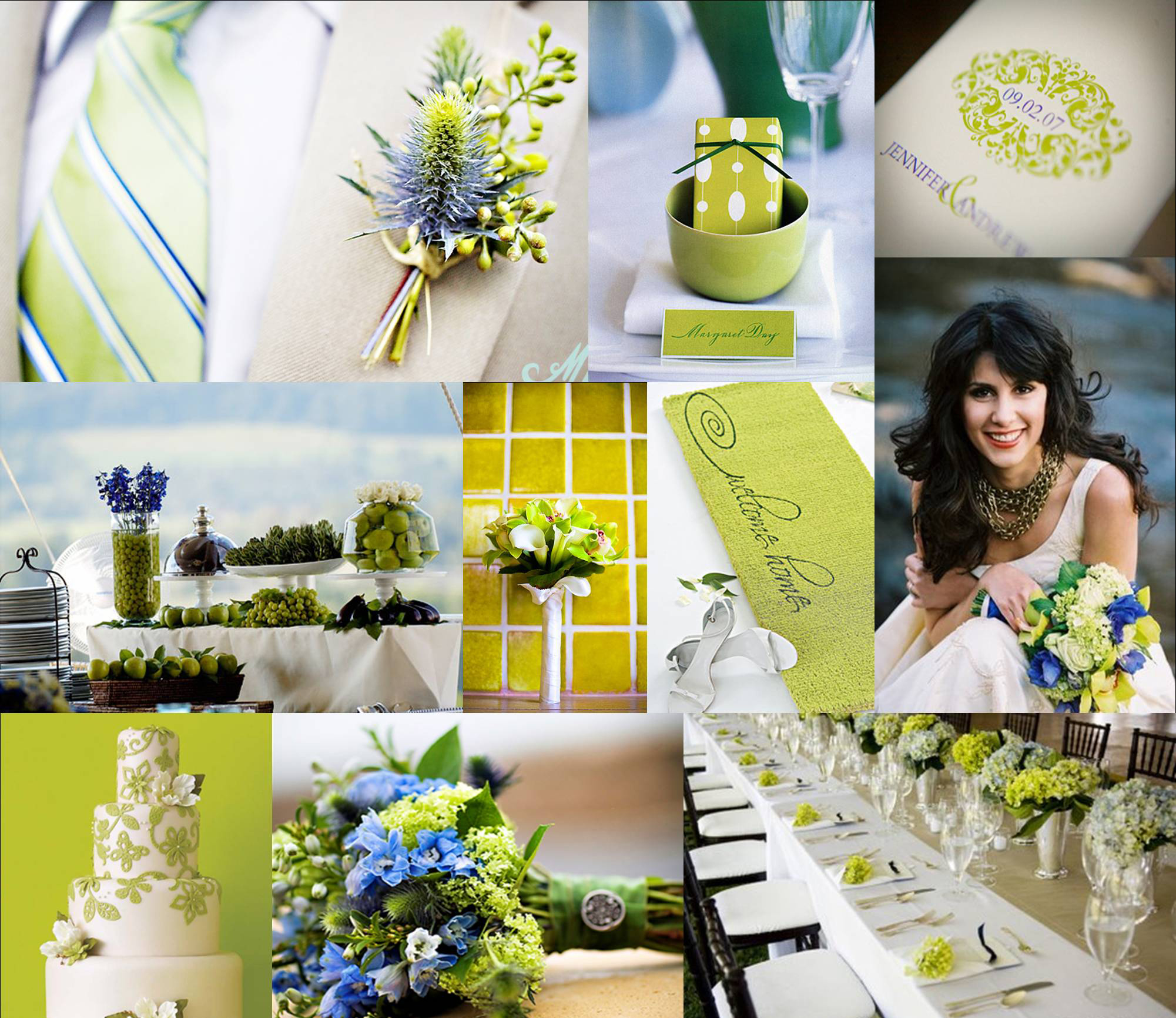 зелено-белая свадьба