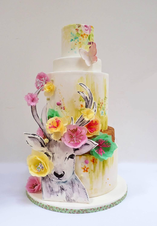 Свадебній торт с акварельной росписью