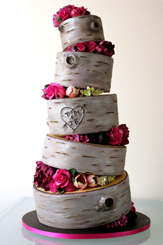 Свадебный торт с имитацией древесной коры