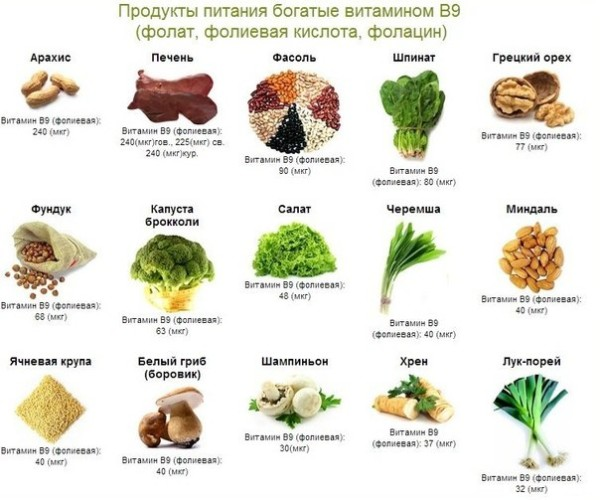 Продукты, содержащие витамин В9